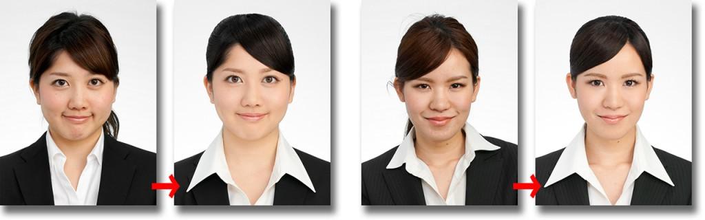 就職活動用証明写真比較 メイク前後比較