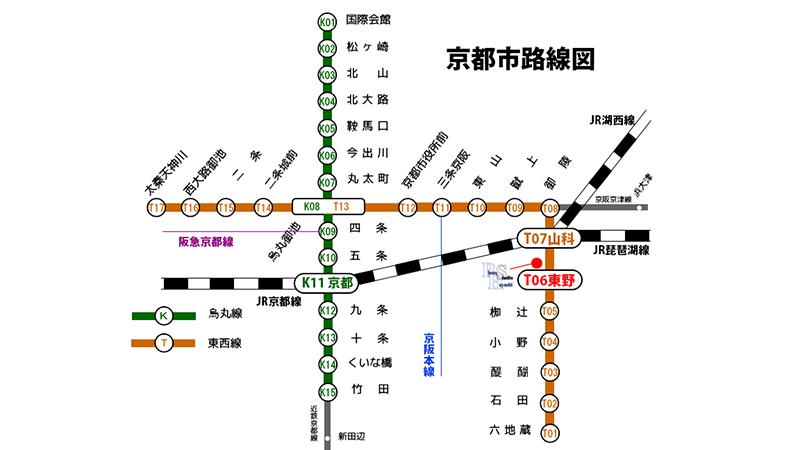 京都市路線図フォトハヤシスタジオへ